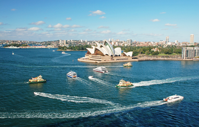 The Sydney Opera House viewed from Sydney Harbor. (Photo credit Tourism Australia.)