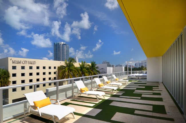 The rooftop sun deck lounge area.