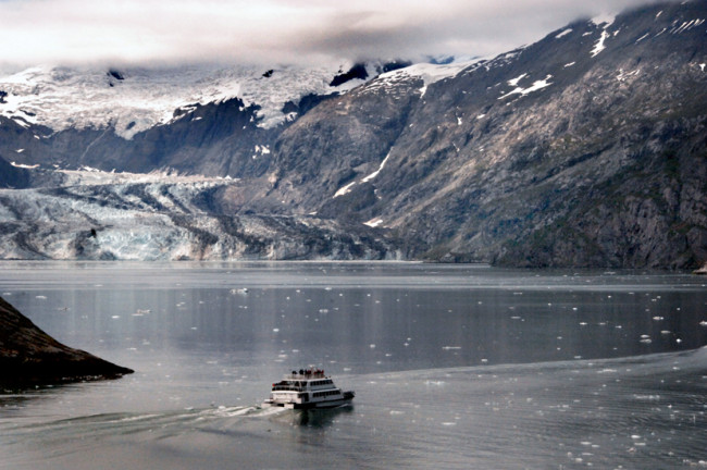 Sightseeing vessel in a Glacier Bay fjord.