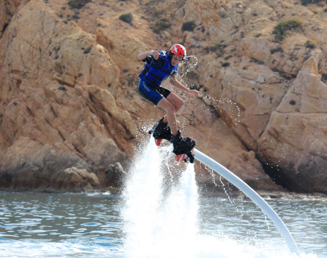 Adventure-seekers can take part in the Flyboard program at Hilton Los Cabos Beach & Golf Resort.