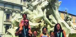 Family At Fountain in Italy