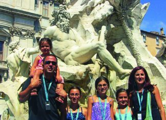 Family At Fountain in Italy