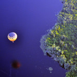 Hot air balloon reflections as we floated above.