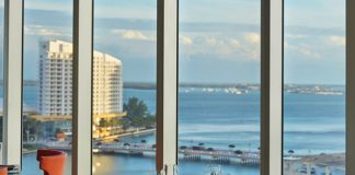 Bay and downtown views from the Viceroy Miami's 15th & Vine restaurant.