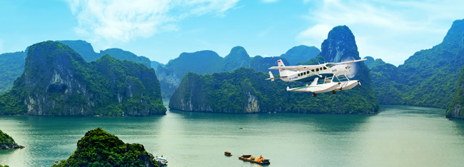 Alexander + Roberts' seaplane transportation to Ha Long Bay.