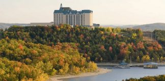 Views of fall foliage and the Chateau on the Lake Resort & Spa.