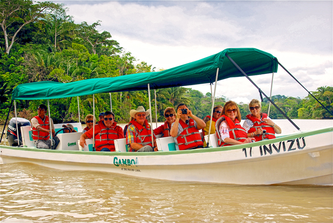 Collette travelers on a Gamboat Rainforest Boat tour in Panama.