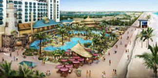 Rendering of Margaritaville Beach Resort viewed from the beach.