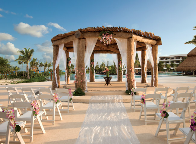 The wedding gazebo located in the center of Secrets Maroma Beach near the main pool with views of the resort and beach.