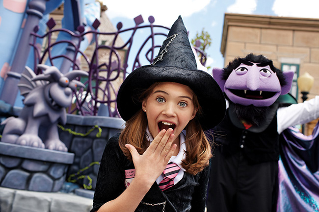 Children are encouraged to come in costume during The Count's Halloween Spooktacular at Sesame Place, weekends September 20 through October 26.