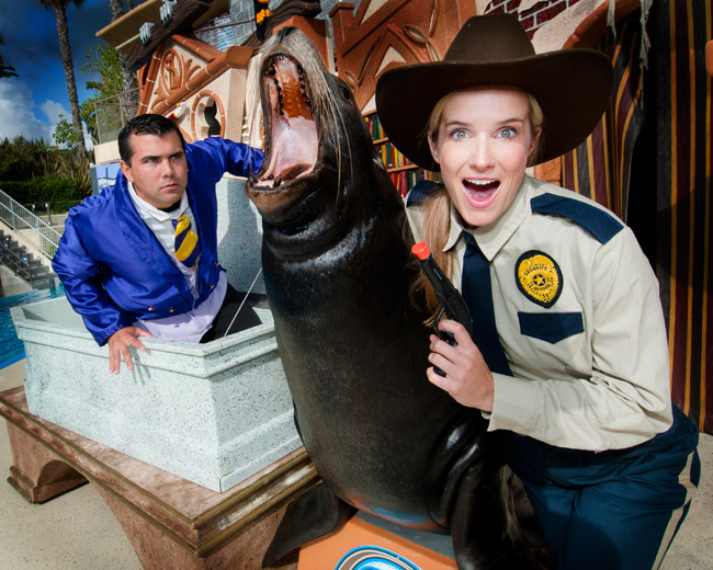 Clyde & Seamore's Spooky Adventure at Sea Lion and Otter Stadium is one of the many family friendly Halloween adventures at SeaWorld San Diego, weekends September 27 through October 26.