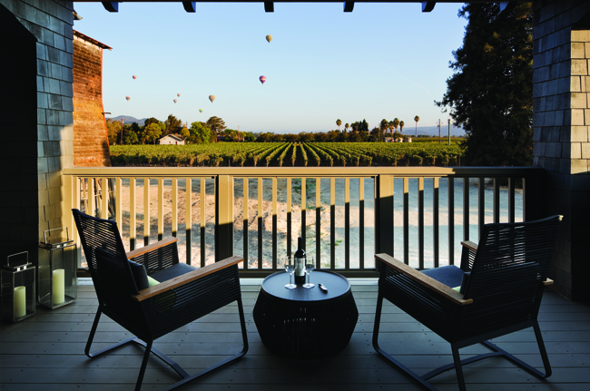 A vineyard setting at SENZA in Napa Valley.