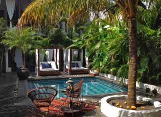 Pool area and interior patio at the Tribal Hotel.