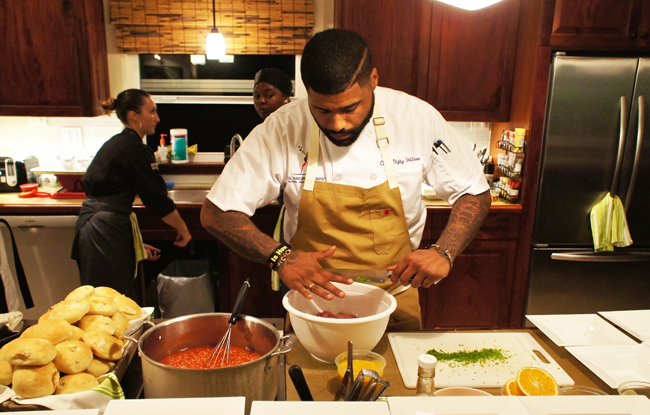 Chef Digby Stridiron prepping a meal for media—his new restaurant opens next year.  (Photo credit: Ed Wetschler.)