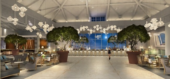 Rendering of the lobby at Moon Palace Jamaica Grande. (Photo courtesy of Palace Resorts.)