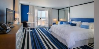 Montauk Blue Hotel's newly designed chic guestroom.