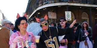 "Guests taking on the saying ""The Saints will win the Super Bowl when pigs fly."" (Photo credit: Jay Combe.)"