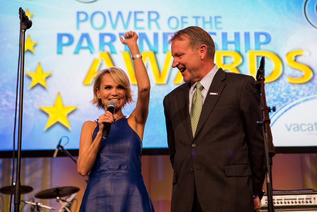 Kristin Chenoweth, Quantum of the Seas' godmother, and John Lovell, Vacation.com's president.