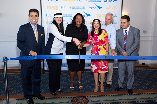 (L to R): Carlos M. Molinet, sr. v.p. of the <strong>Greater Fort Lauderdale Convention and Visitors Bureau</strong>; Paola Carvajal, Minister of Transportation; Barbara Sharief, Mayor of Broward County; Nathalie Celi, the Ambassador of Ecuador in the United States; Kent George, Broward County Aviation Director; and Fernando Guerrero, <strong>Tame Airlines</strong> CEO.