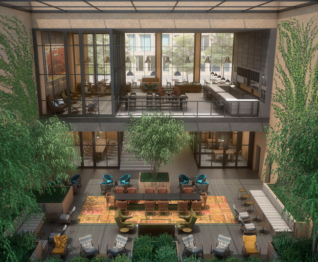 Rendering of the lobby for Canopy by Hilton in Portland.