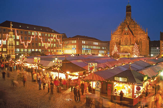 The Christmas market on Hauptmarkt Square in Nuremberg, Germany. (Photo courtesy of Scenic Cruises.)