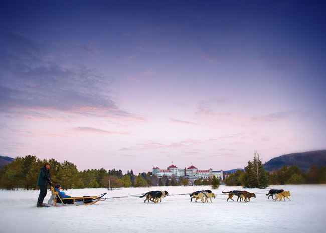 Dog sledding at the Omni Mount Washington Resort.