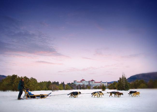 Dog sledding at the Omni Mount Washington Resort.