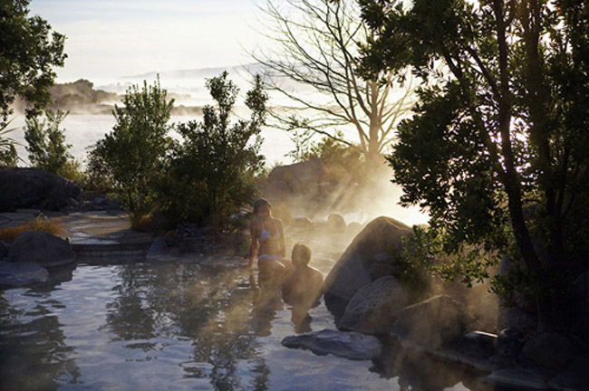 Relax in a lake spa retreat in  New Zealand.