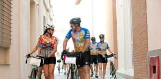 Cyclists touring Tuscany.