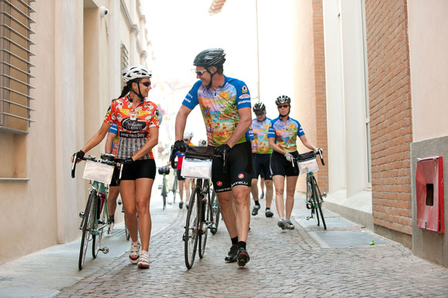 Cyclists touring Tuscany.