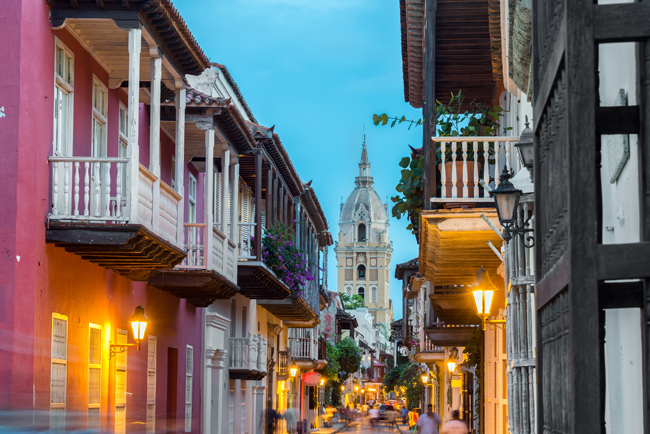 Visit Colombia to enjoy a view of a Cartagena street.