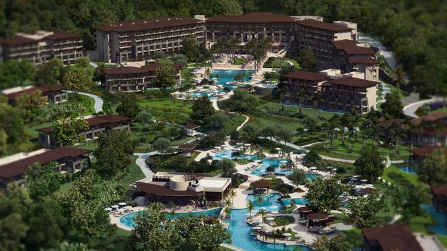 An aerial rendering of Dreams Las Mareas Costa Rica.