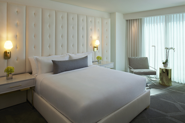 King bedroom at the Delano Las Vegas.