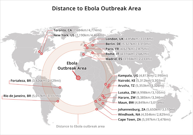 A map of the Ebola outbreak in comparison to the distance of the surrounding continents. (Photo courtesy of African Travel, Inc.)