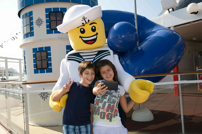 Guests interact with  Sailor Walkabout, part of the new LEGO collaboration with MSC Cruises.