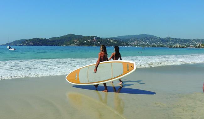 Surfing in Ixtapa-Zihuatanejo.
