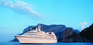 The Seabourn Spirit at sea.