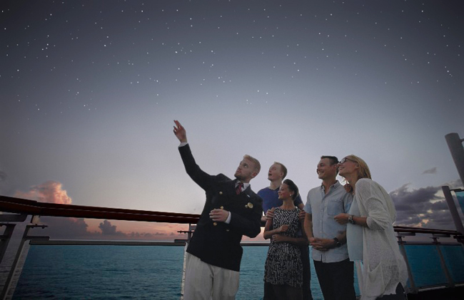 Guests enjoy stargazing with Princess Cruises' Discovery Under the Stars program.