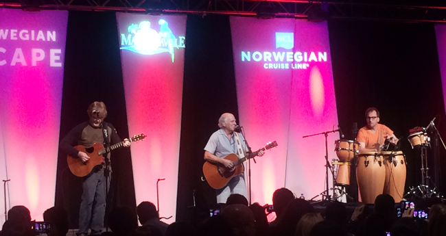 Jimmy Buffet performs for Norwegian Cruise Line employees after the Margaritaville at Sea announcement.