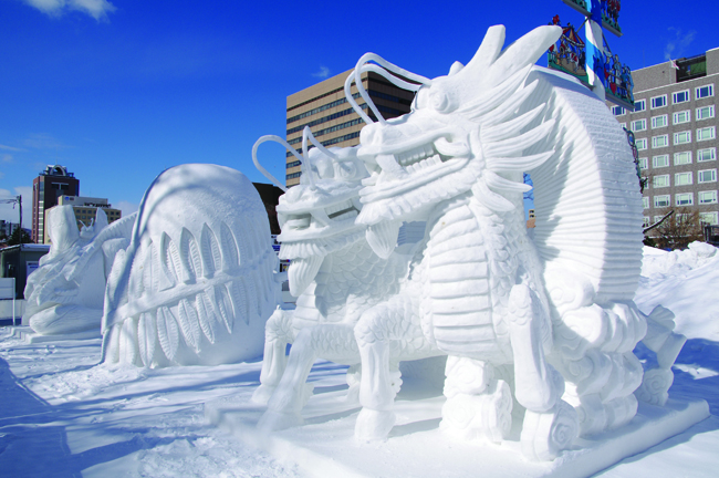 Ice sculptures in Sapporo, Japan.