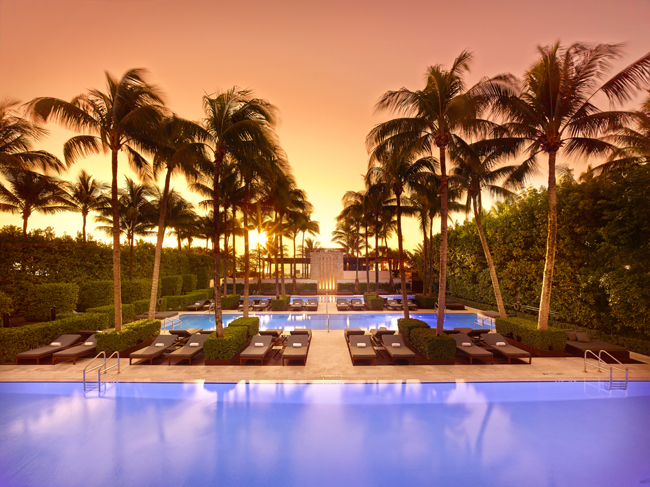 Pool side at The Setai, Miami Beach.