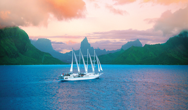 Windstar's Wind Spirit in Tahiti.