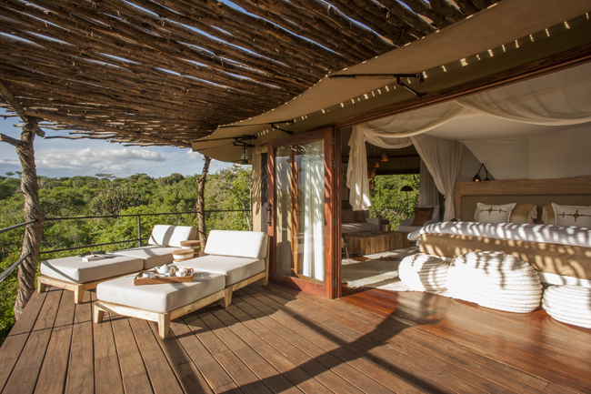 Tented Suite Private Deck at Mwiba Lodge.