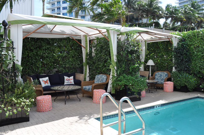 The poolside cabanas.