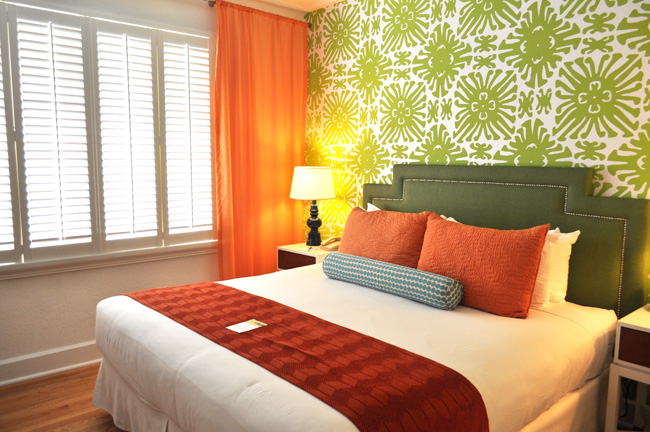 Guestrooms are decorated in vibrant and chic decor.