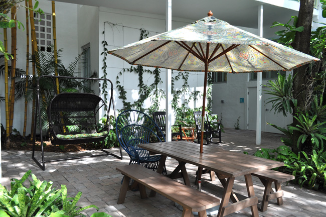 The courtyard provides guests with a shady place to relax.