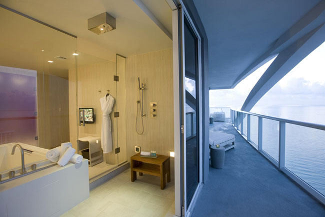 The Extreme Wow Suite Terrace and bathroom at the W Fort Lauderdale.