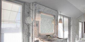 The guesroom bathroom at La Reserve Paris Hotel.