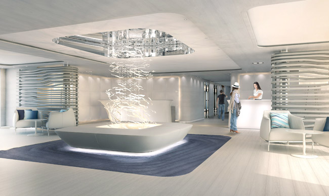 The lobby of Le Lyrial, PONANT's newest ship.