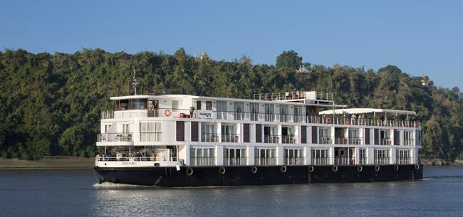 Amawaterways' Amapura sailing the Irrawaddy River.